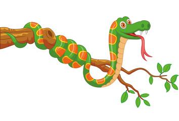 Cartoon green snake on branch