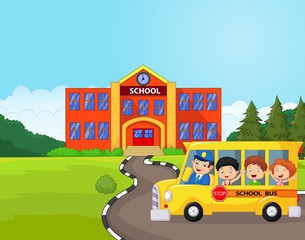 Illustration of a school bus and kids infront of school