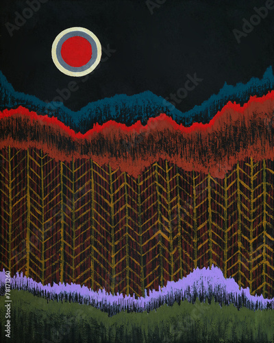 an abstract painting, suggesting trees and a moon - 78171260