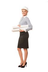 Female architect holding blueprints isolated on white background
