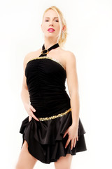 Sensual blonde girl with black dress