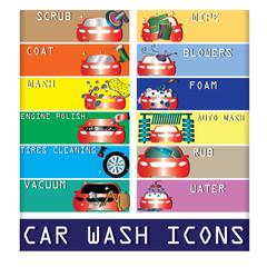 color car wash icons