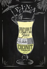 Pina Colada cocktail chalk