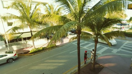 Corner in South Beach Miami taken from above on a beautiful day