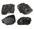 set nuggets black coal isolated on white background