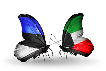 Two butterflies with flags Estonia and Kuwait