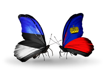 Two butterflies with flags Estonia and Liechtenstein