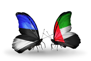 Two butterflies with flags Estonia and United Arab Emirates