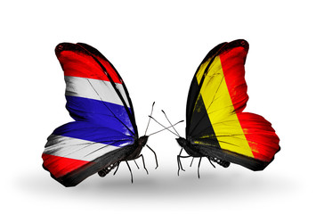 Two butterflies with flags Thailand and Belgium