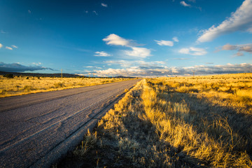 Evening light on a country road near Albuquerque, New Mexico.