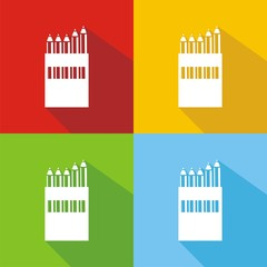 Iconos caja de lápices colores sombra