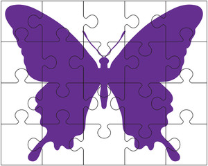 Vector illustration of white puzzle and butterfly