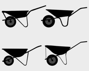 Black silhouettes of wheelbarrow, vector
