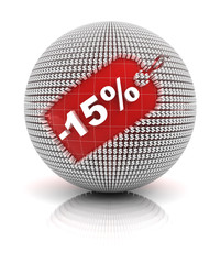 15 percent off sale tag on a sphere