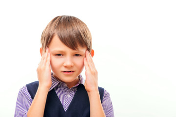 Cute child suffering from headache