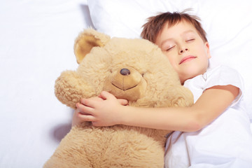 Portrait of a boy sleeping with teddy bear