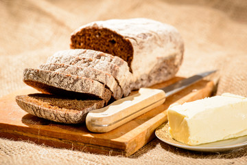 Image of bread loaf and butter