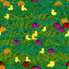 Easter background with eggs and little cute chickens