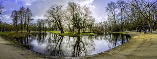 Pond panoramic landscape photo in Vondelpark, Amsterdam.