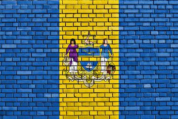 flag of Philadelphia County painted on brick wall