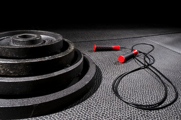 stacked plates with jump rope