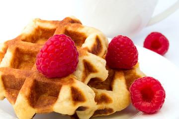 Breakfast Belgian waffles homemade raspberry dessert