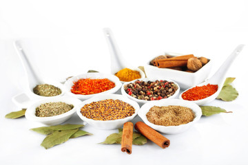 Different kinds of spices in ceramics bowls and spoons isolated