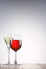 Wine glass.On blank table.Cheers.