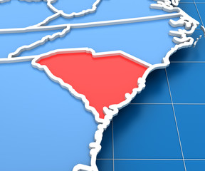 3d render of USA map with South Carolina state highlighted