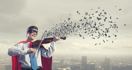 Super man with violin