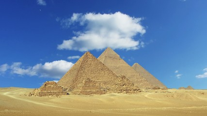 Timelapse with clouds over great pyramids in Egypt  4k