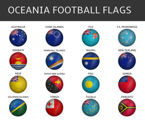football flag of ocenia states vector set
