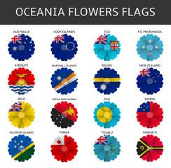 oceania flowers flags vector