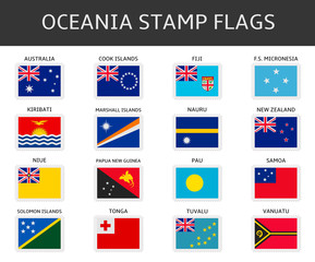 oceania stamps flags vector