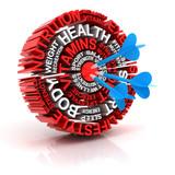 Health target, formed by words 3d render poster