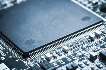 Closed up of microprocessor on motherboard.