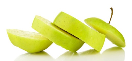 Juicy slices of apple isolated on white