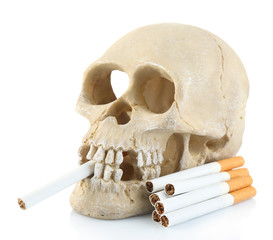 Smoking human scull with cigarette in his mouth, isolated