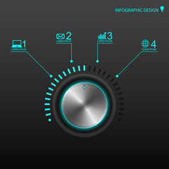 Metal volume button for infographics