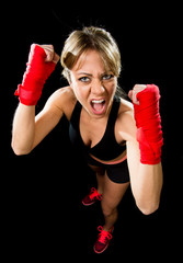 sexy girl training boxing fist wrapped female fighter concept