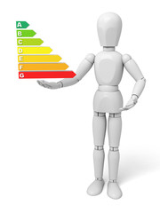 Man with energy efficiency graph