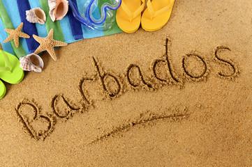 Barbados beach writing
