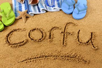 Corfu beach writing