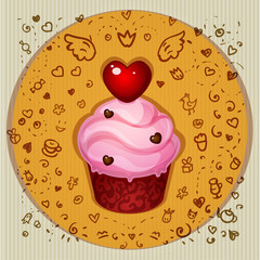 Cute vector party cupcake