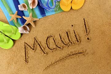 Maui! beach writing