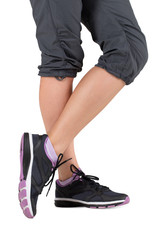 Runner feet. Woman fitness sneakers