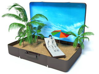 3d white people in a suitcase paradise, isolated white backgroun
