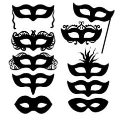 Black shapes of masks
