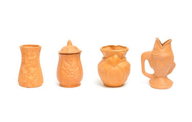 collection of clay vases for gardening