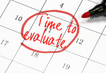 time to evaluate text write on calendar
